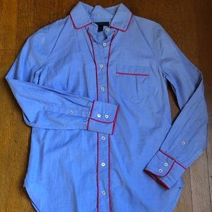 J Crew Blue Button Up Shirt with Red Piping